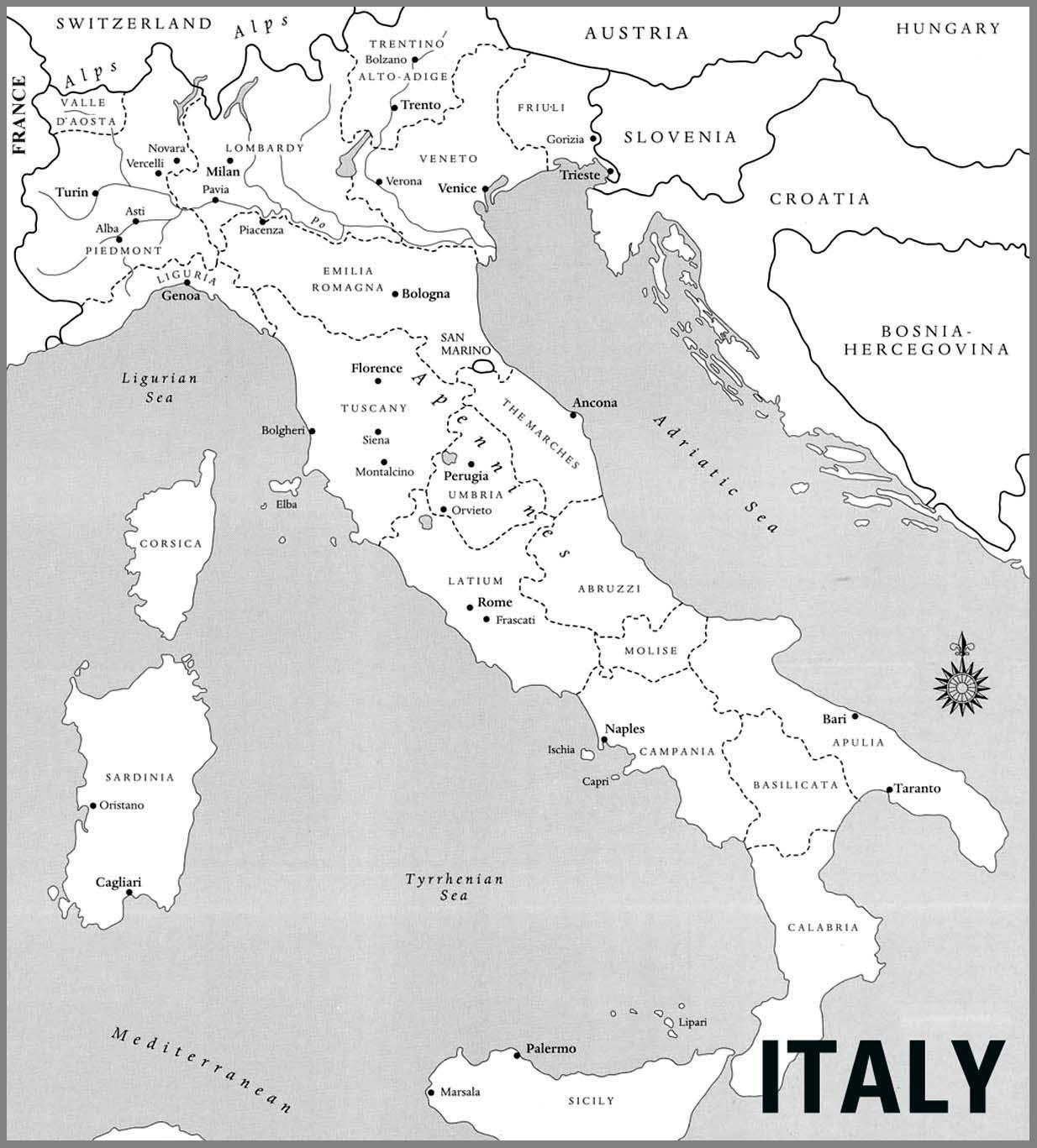 Map Of Italy Black And White.Italy Map Black And White Map Of Italy Black And White Southern
