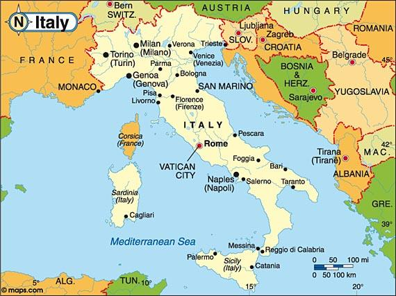 Map Of Countries Around Italy.Map Of Italy And Surrounding Countries Map Of Italy And
