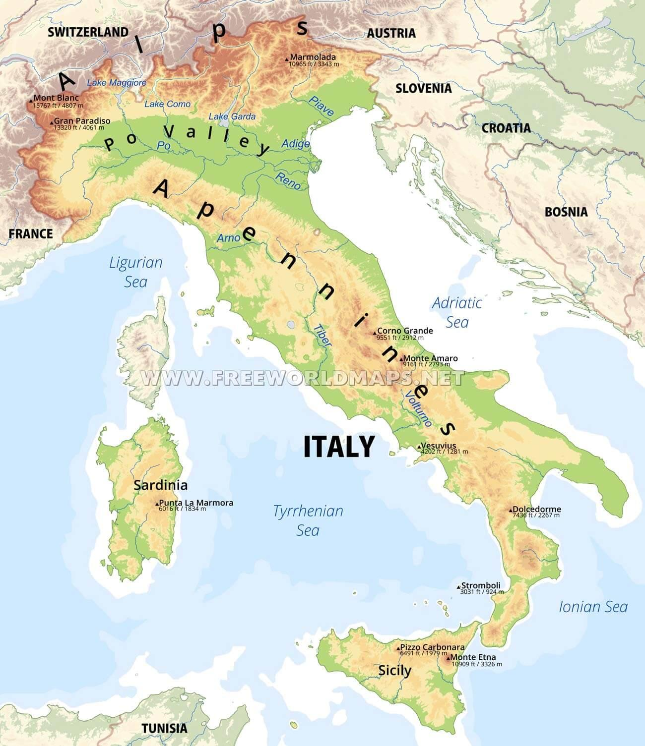 Physical map of Italy - Italy physical features map ...