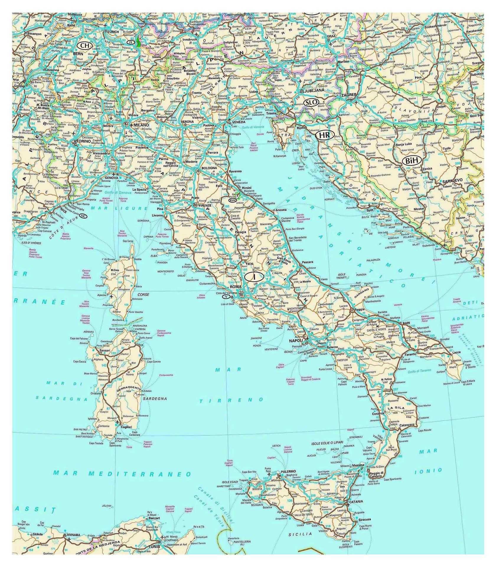 Road Map Of Italy Roadmap Italy Southern Europe Europe