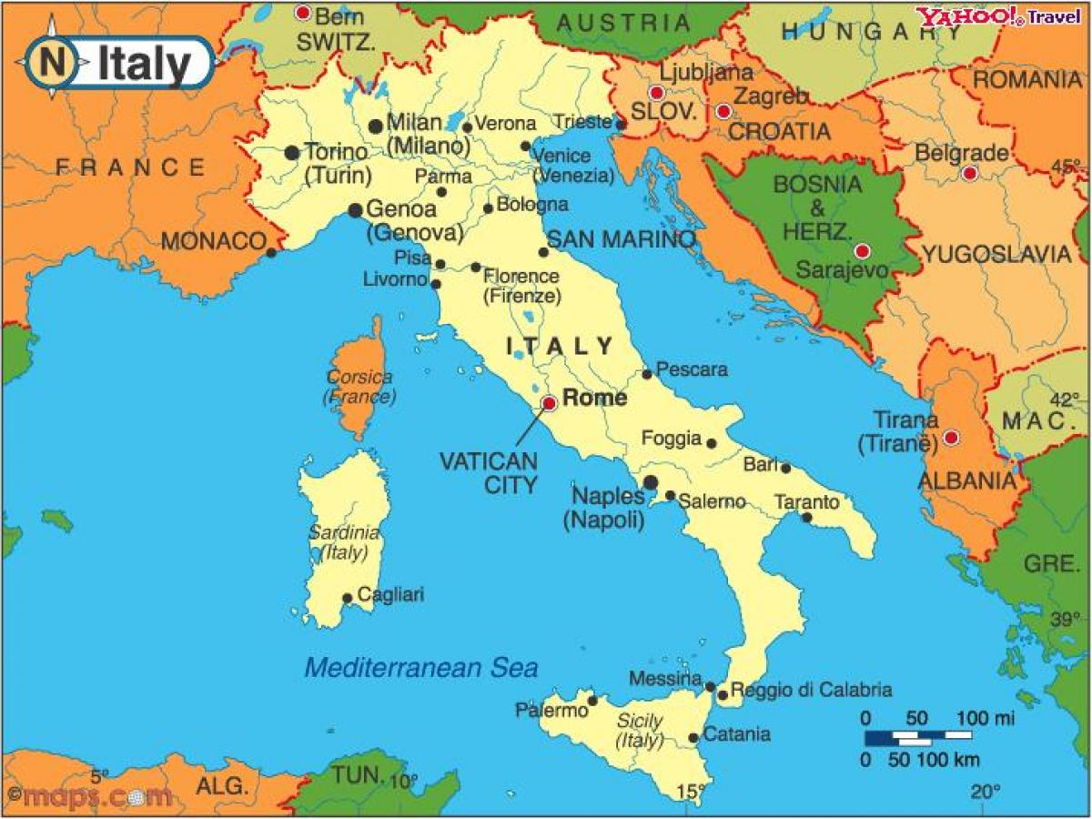 Countries around Italy map   Italy and neighbouring countries map