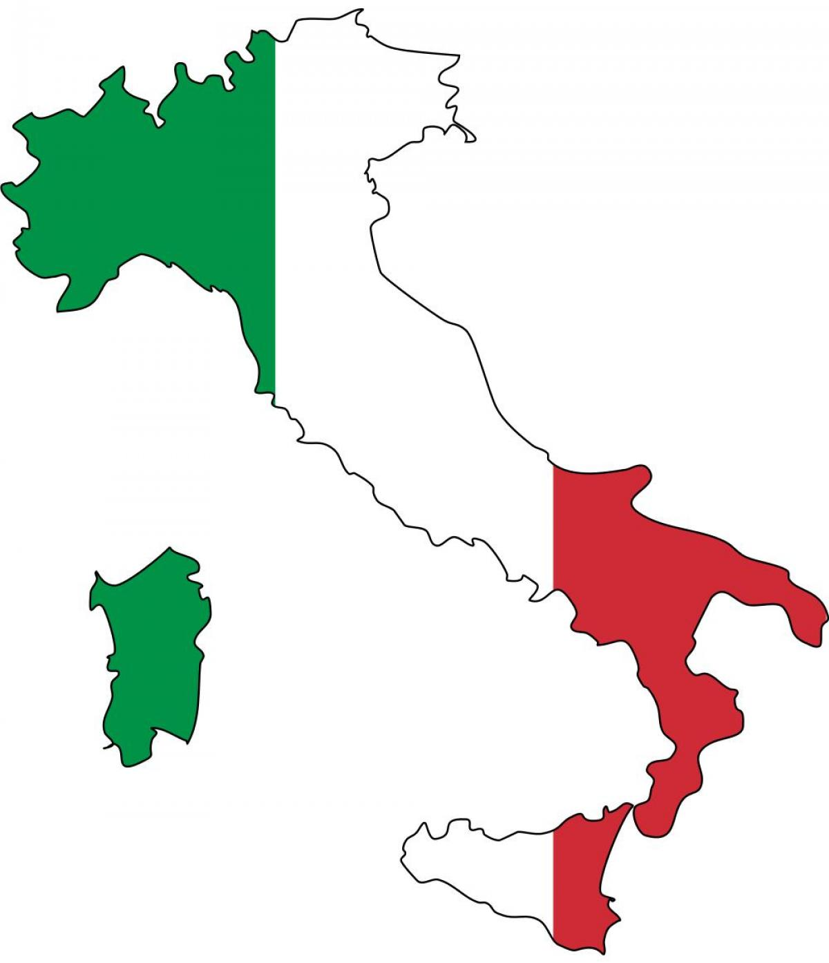 map of Italy flag