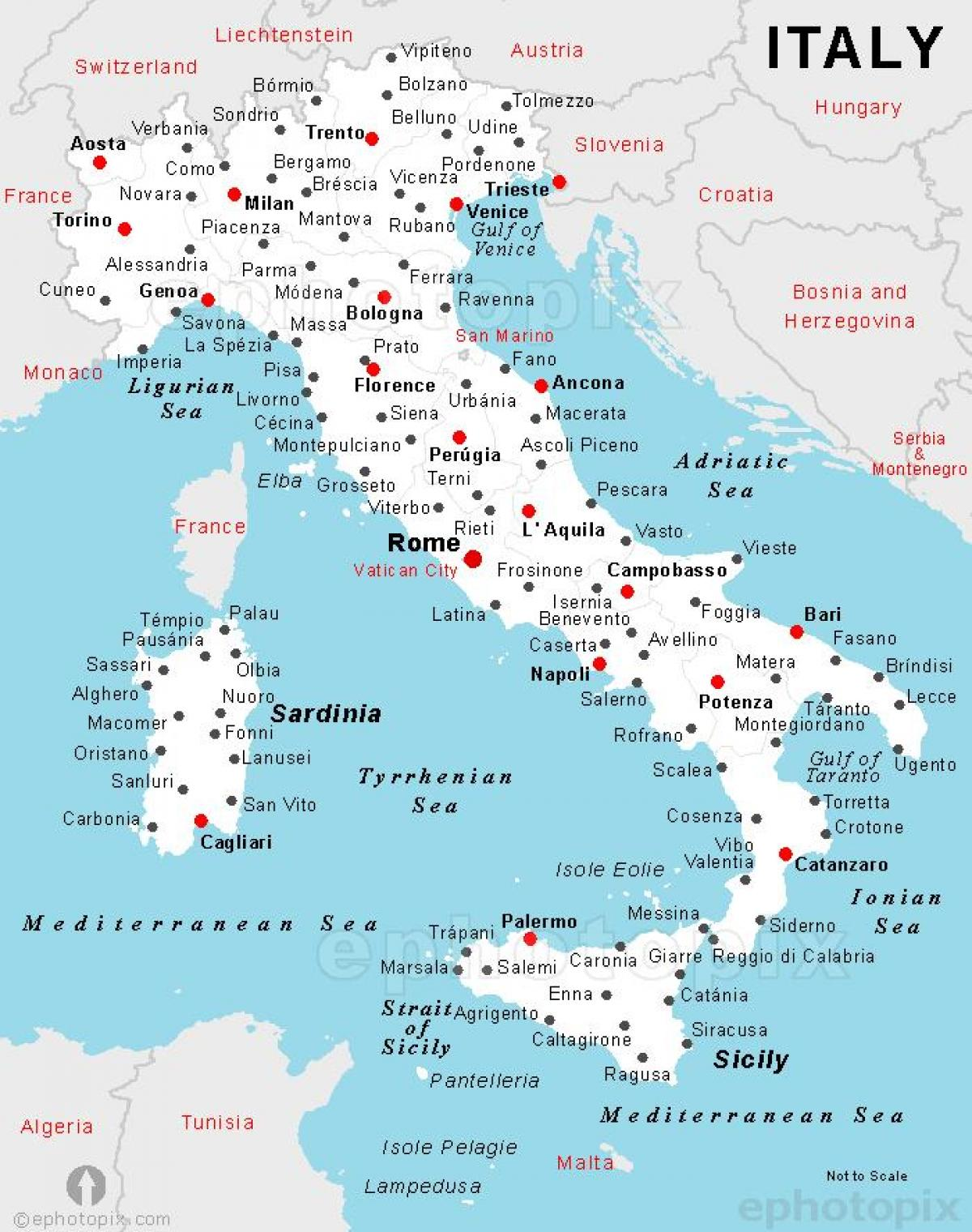 detailed map of Italy with cities and towns