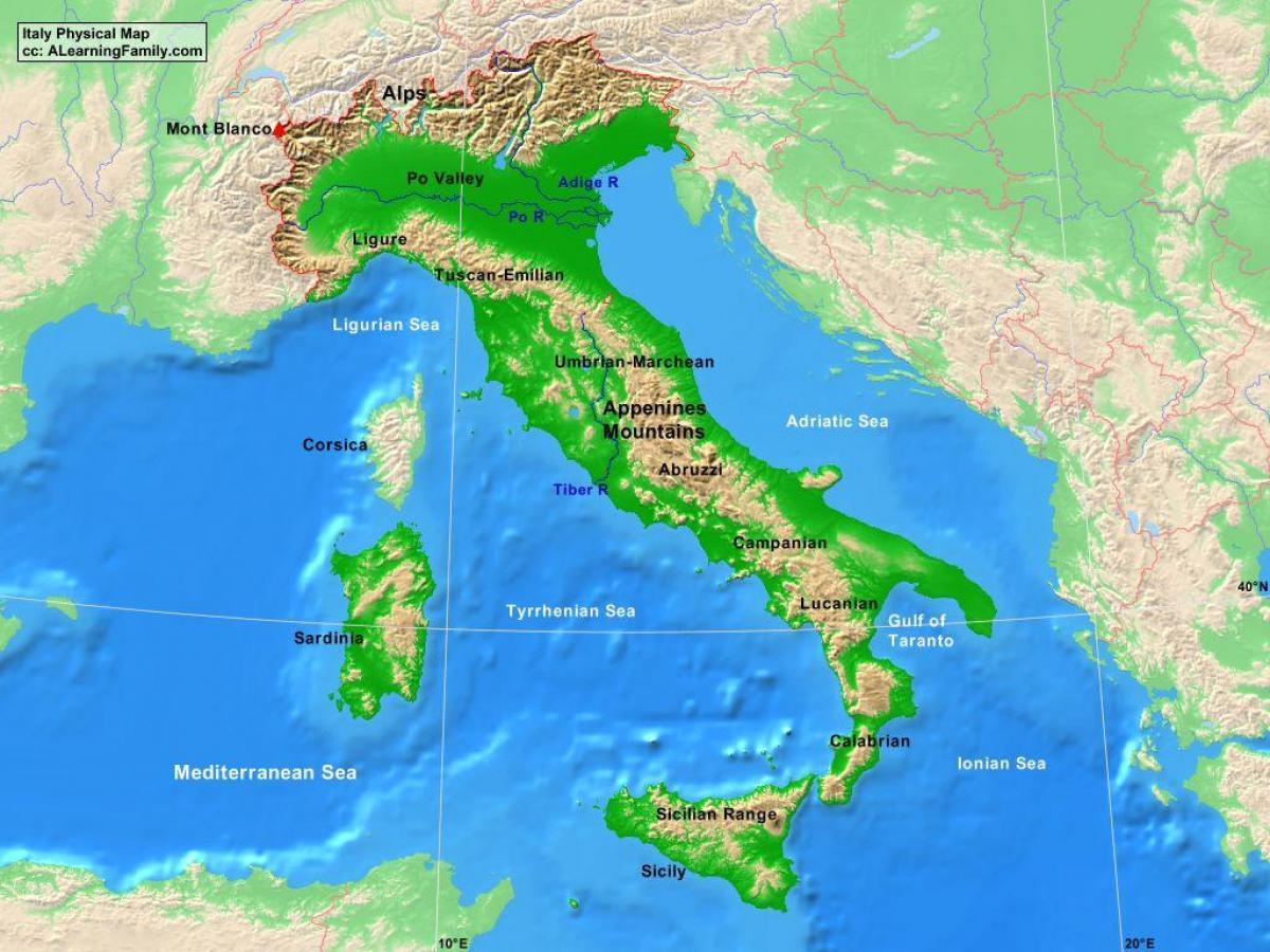 Map Of Italy With Mountains.Italy Mountains Map Map Of Italy Mountains Southern Europe Europe