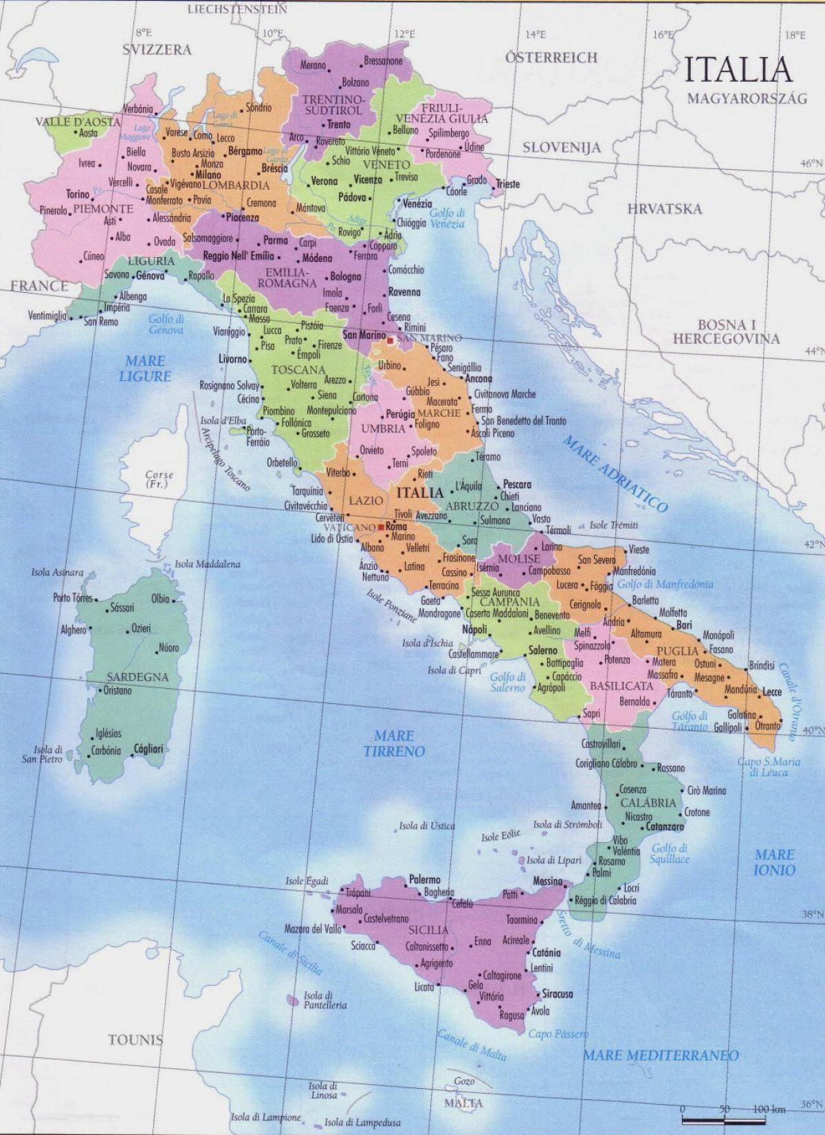 detailed map of Italy regions