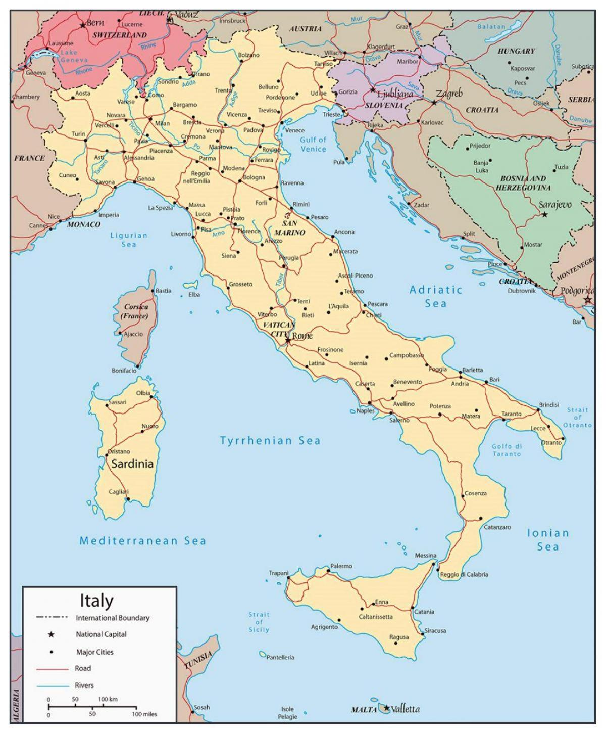 map of Italy showing major cities