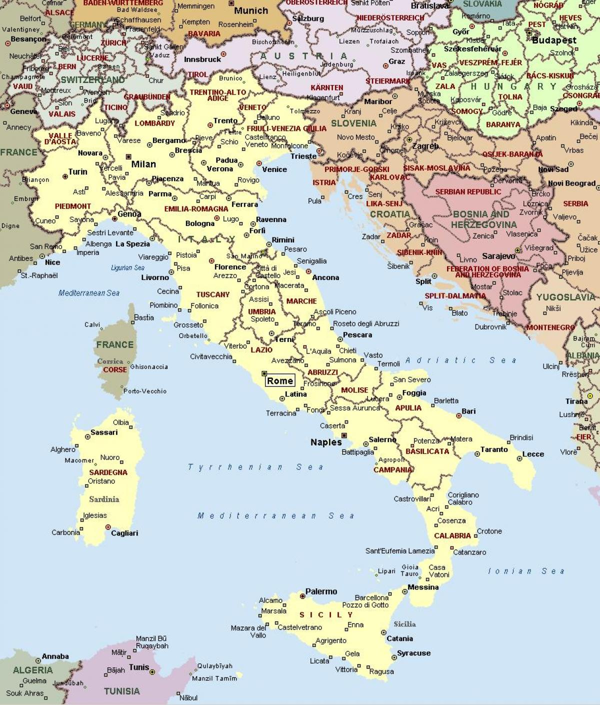 West coast of Italy map   Map of Italy west coast (Southern Europe